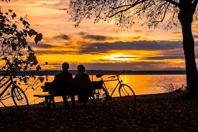 Couple watching Sunset on a bench