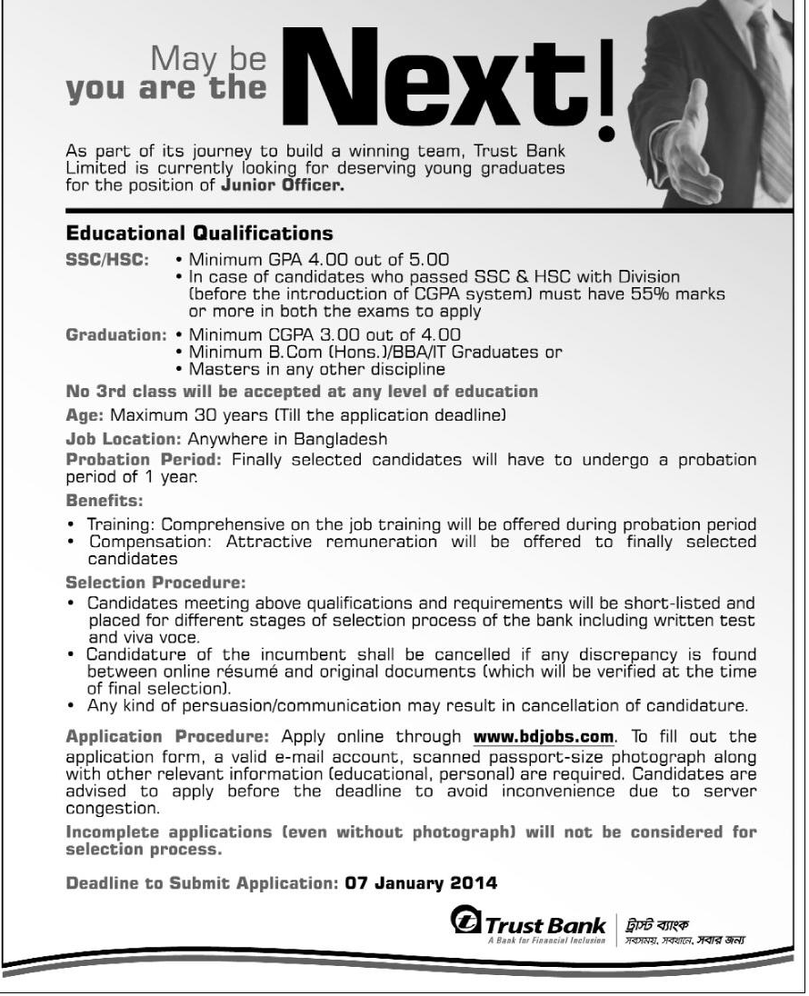 Trust Bank Limited is looking for the position of Junior Officer
