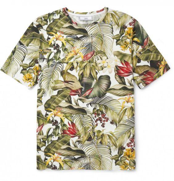 camisa masculina floral folhagens