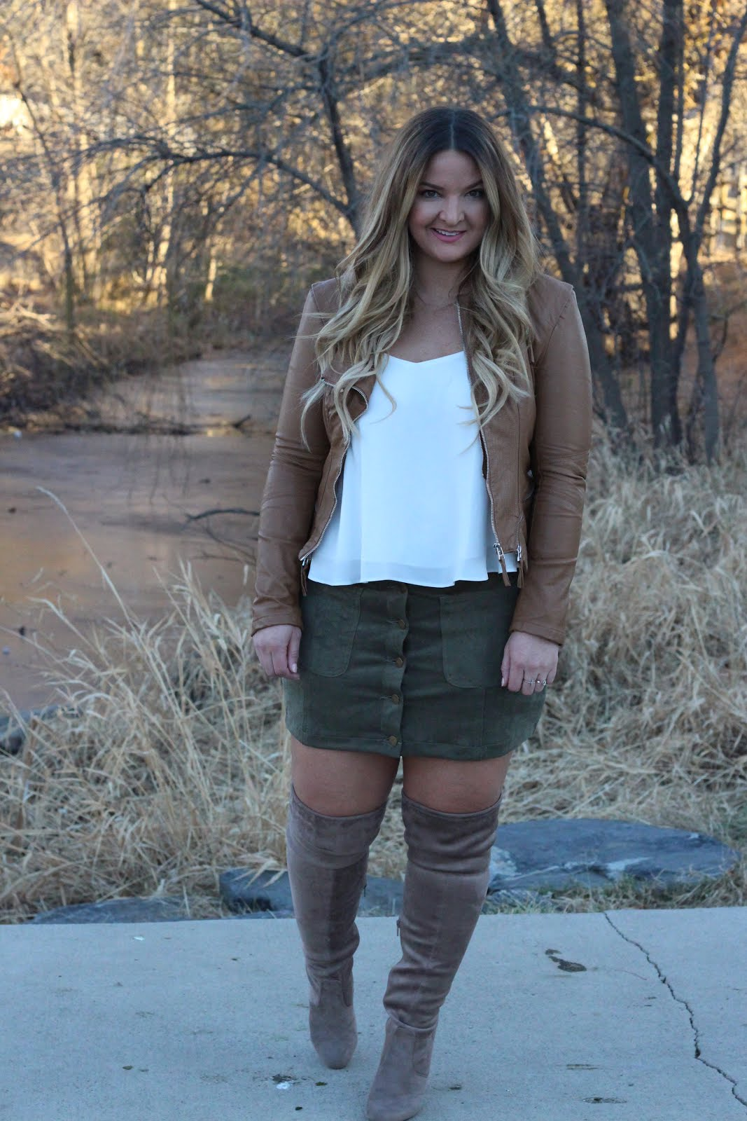 Pairing my brown moto jacket  by popular Denver fashion blogger Delayna Denaye