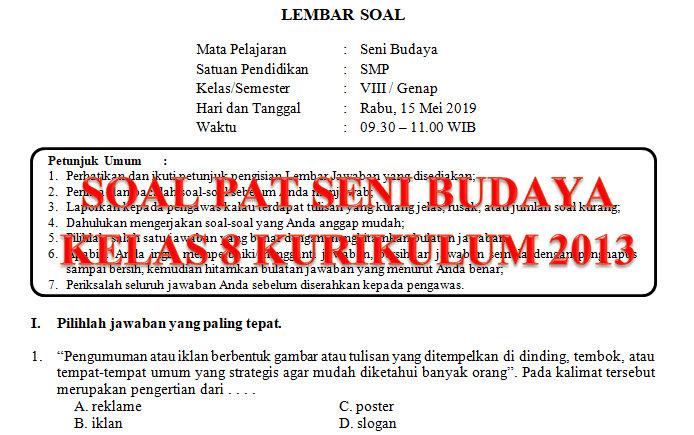 Soal Dan Kunci Jawaban Pat Seni Budaya Smp Kelas 8 Kurikulum 2013 Tahun Pelajaran 2018 2019 Didno76 Com