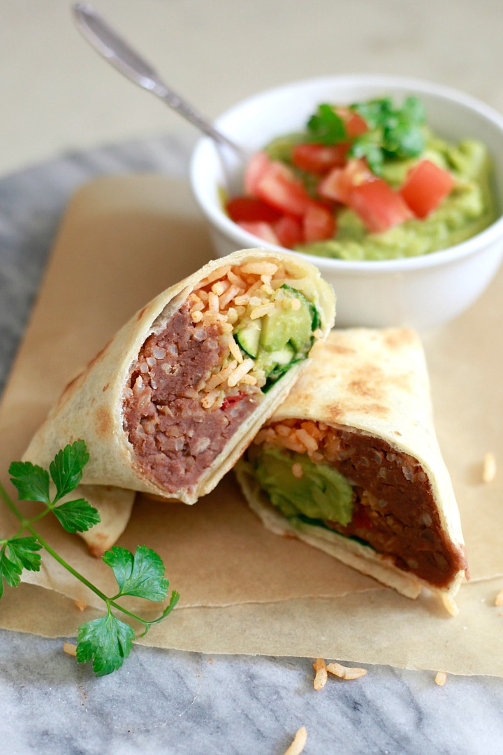 Healthy make ahead burritos yummy mummy kitchen a vibrant healthy make ahead bean and rice burritos are perfect for easy vegetarian packed lunches find forumfinder Gallery