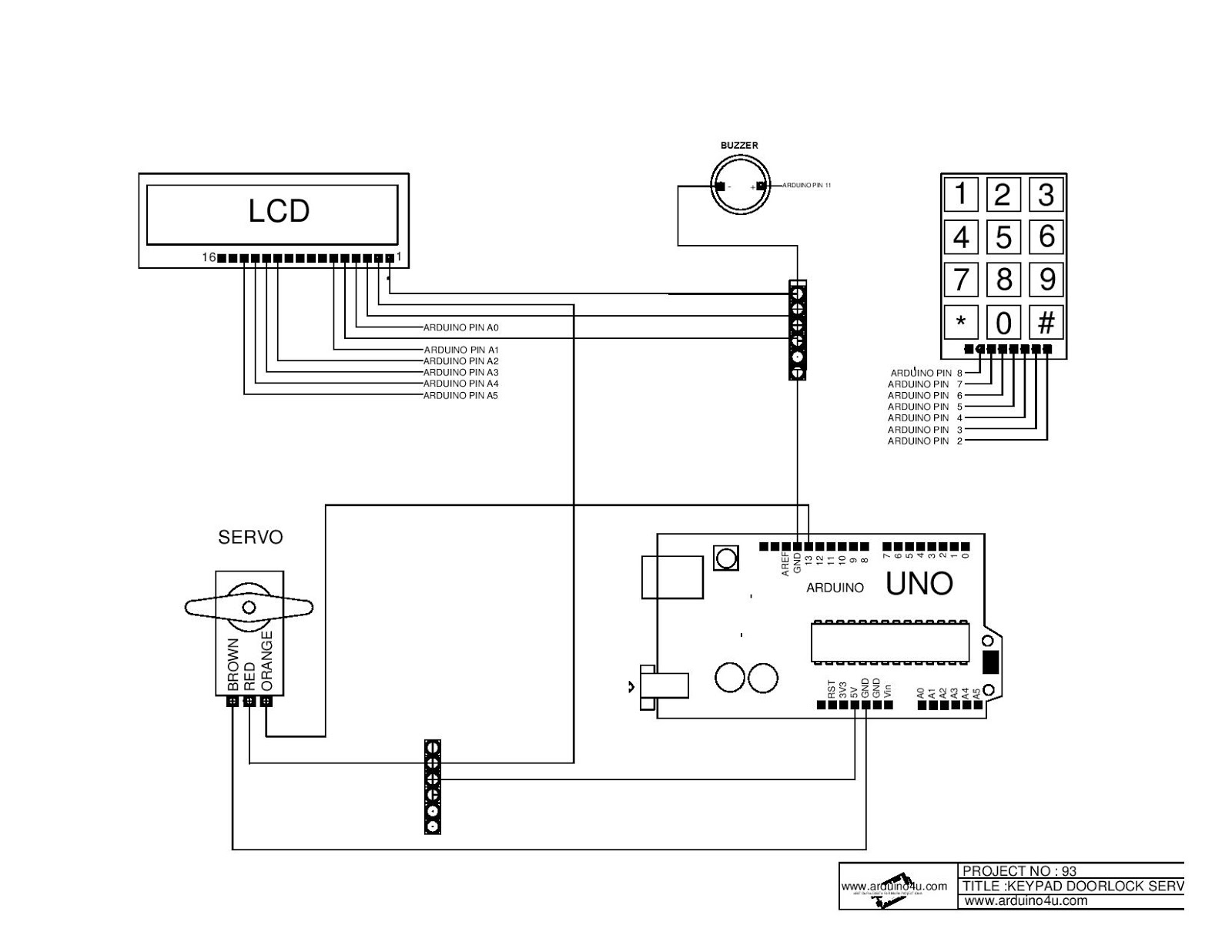 Projek Elektronik Arduino4u com: 93 Keypad door lock servo