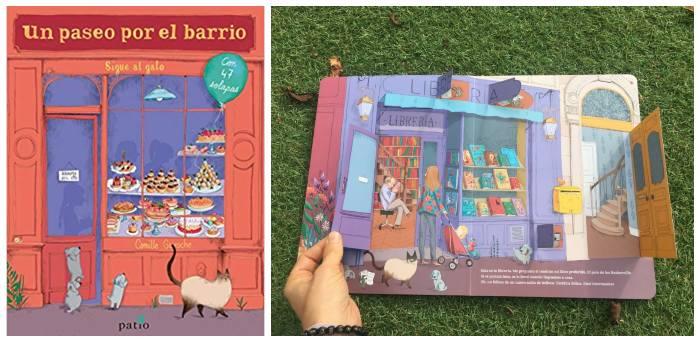 cuento infantil niños 3 a 5 años solapas Un paseo por el barrio, patio editorial