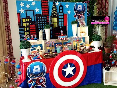 Captain America themed dessert buffet set-up