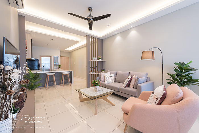royal regent condo living pastel color sofa set & feature divider to block view direct from entrance