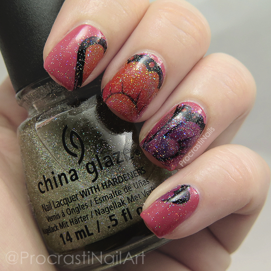 Red glittery butterfly wing nail art