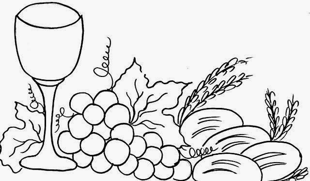 Desenho De Calice Com Uvas Trigo E Pao Simbolos Eucaristicos