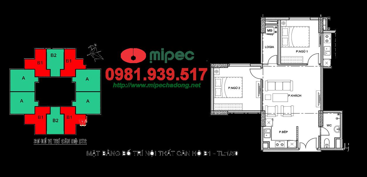 Thiết kế căn hộ 55m2 tòa M2 - M3 Mipec Hà Đông