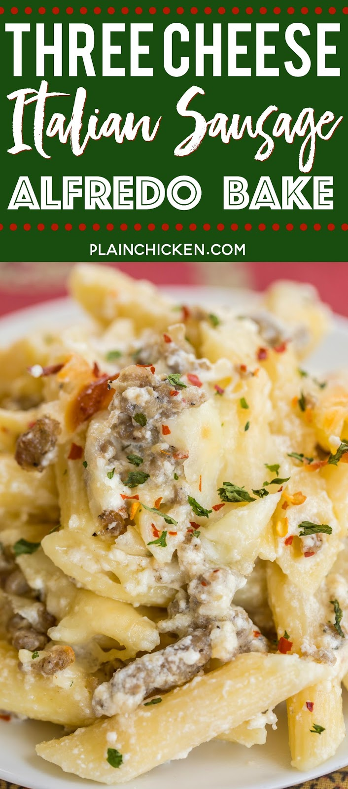 Three Cheese Italian Sausage Alfredo Bake - great make-ahead pasta dish. Elbow macaroni, alfredo sauce, sour cream, ricotta, garlic, italian sausage, eggs, parmesan and mozzarella cheese. SO good!! We make this at least once a month! Can freeze half for later. This is THE BEST pasta casserole we've ever eaten!!! #casserole #freezermeal #pasta #pastacasserole