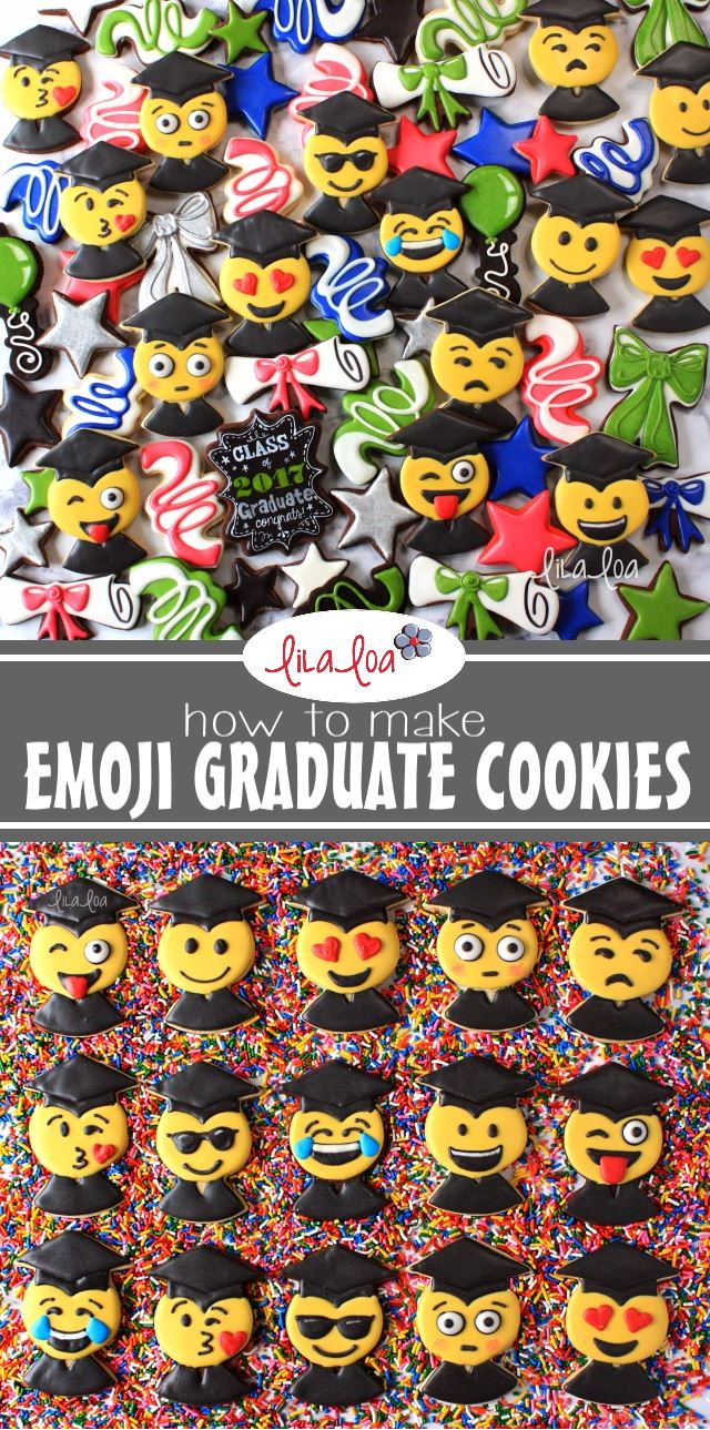 chocolate decorated graduation emoji sugar cookies with bright colors