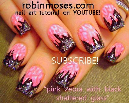 Robin Moses Nail Art: PINK AND BLACK zebra and foil nail ...