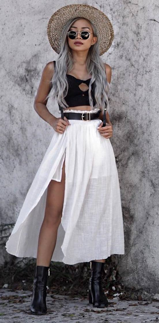 boho style obsession: hat + crop top + white skirt + black boots