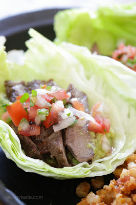Grilled Steak Lettuce Tacos from Skinnytaste featured for Low-Carb Recipe Love on Fridays (7-8-16) found on KalynsKitchen.com