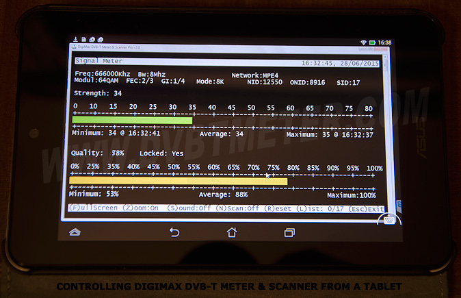 Control de DigiMax DVB T-Meter & Scanner utilizando un Tablet