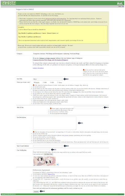submit site on DMOZ