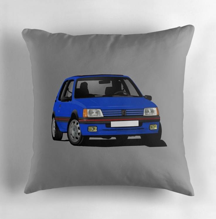 Cornering Peugeot 205 GTi in blue - throw pillow