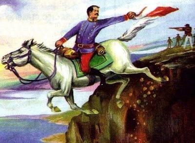Dibujo de Alfonso Ugarte con la bandera peruana montado en su caballo y a colores