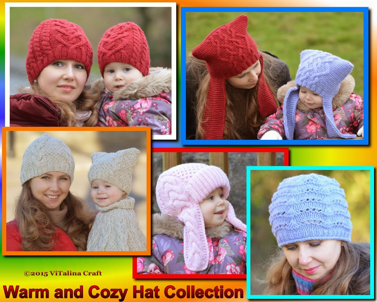 Elfin Story Hat - Valentine Cable Hat - Vanilla Cloud Child and Adult Hat  Set - Winter Sky Hat - Winterberry Earflap Hat 9a6be9aa9c8