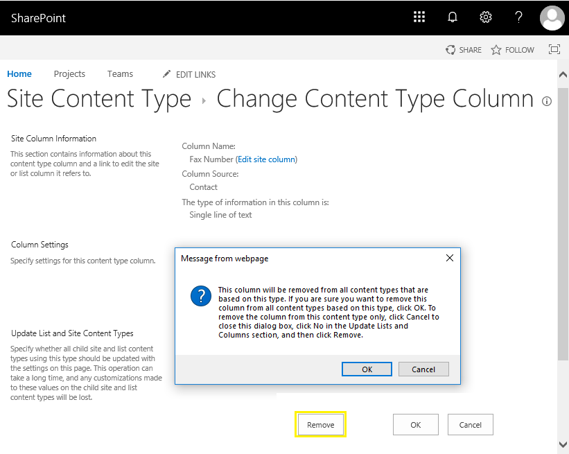 sharepoint online remove column from content type