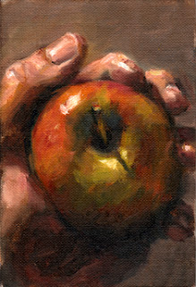 Oil painting of the top of an apple held in a hand.
