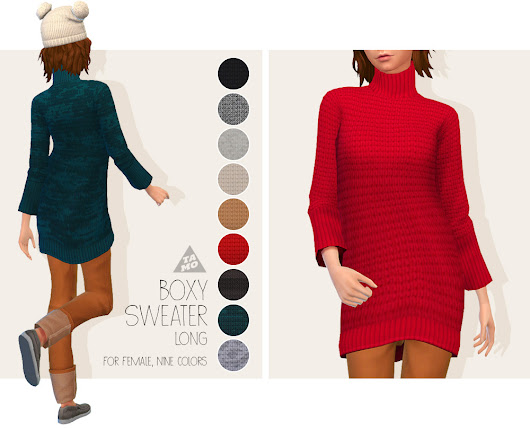 [TS4] Boxy Sweater (Long) for AF