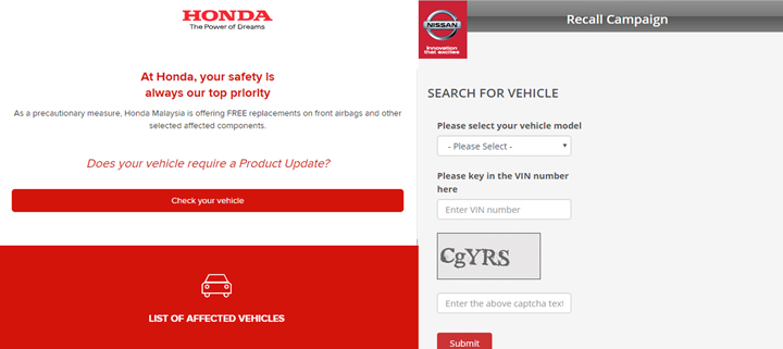 Cara Semak Kereta Honda & Nissan Untuk Ganti Beg Udara
