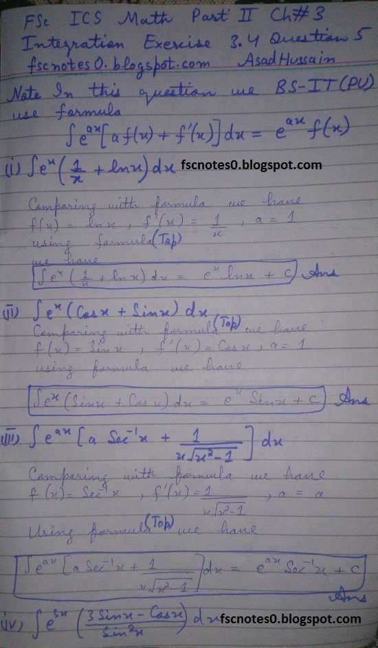 FSc ICS Notes Math Part 2 Chapter 3 Integration Exercise 3.4 Question 5 by Asad Hussain