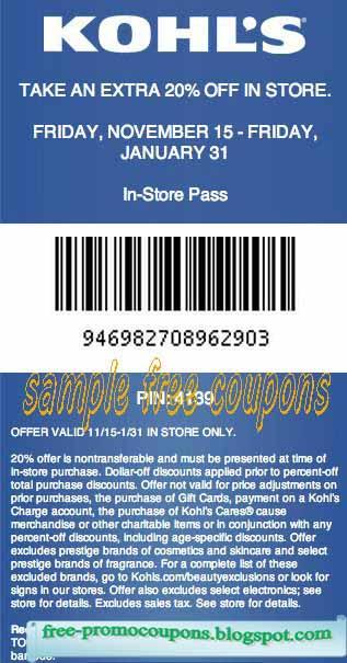 Kohls coupons 2018 online