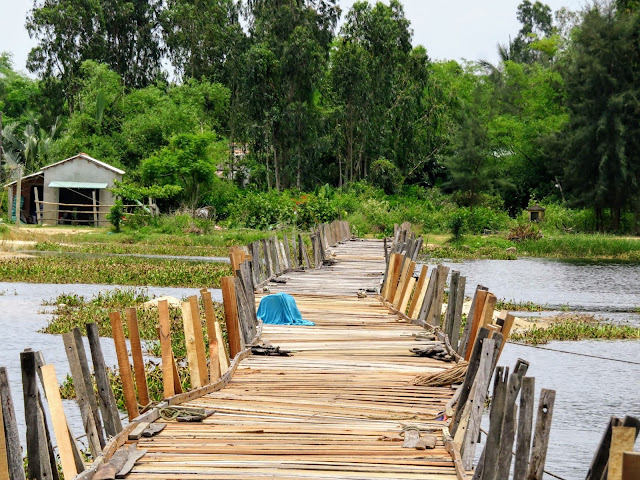 Floating bridge in the countryside outside Hoi An Vietnam