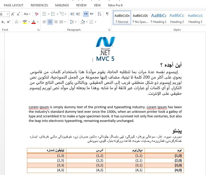 Generating MS Word (RTL+LTR) (arabic, Farsi, Pashto etc) in