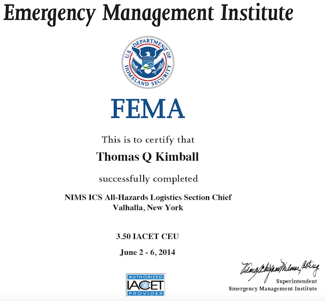 Thomas quick kimball wa8uns blog is 0951 dhs component radio fairfieldcountyct ct connecticut wanted to share he has completed the nims ics all hazards incident commander course january 27th 31st 2014 fandeluxe Image collections