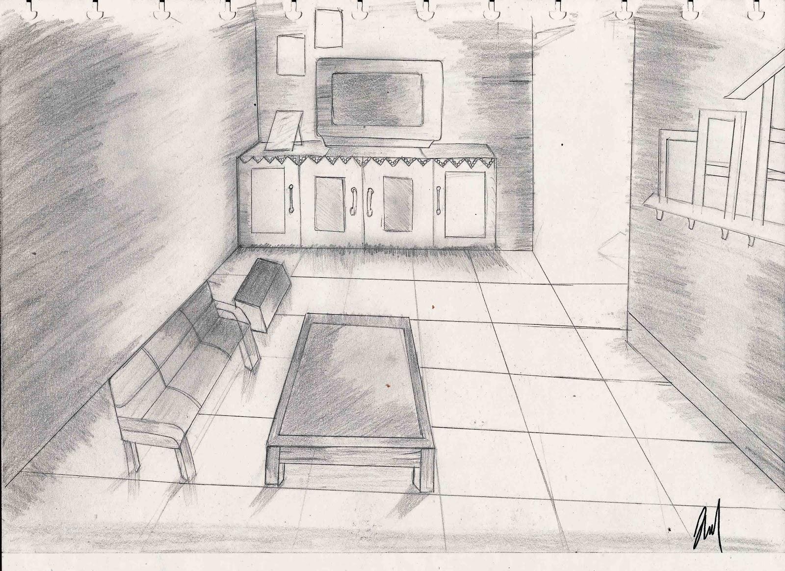 Sketsa Desain Interior Ruang Tamu