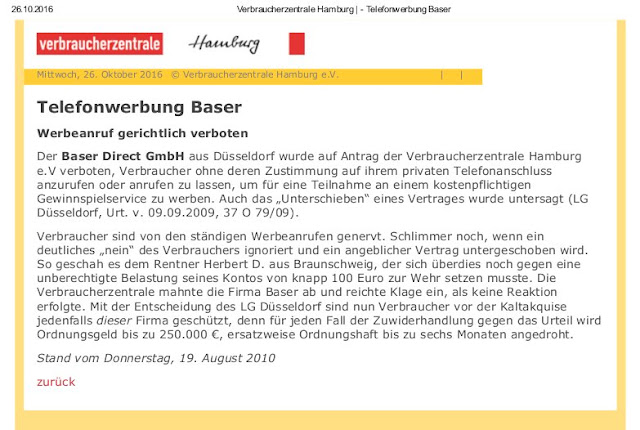 Screenshot Verbraucherzentrale Hamburg | Telefonwerbung Baser | 19.08.2010