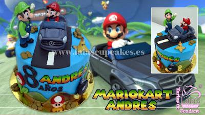 tarta personalizada fondant mario kart mercedes luigi nintendo game juego Laia's Cupcakes Puerto Sagunto