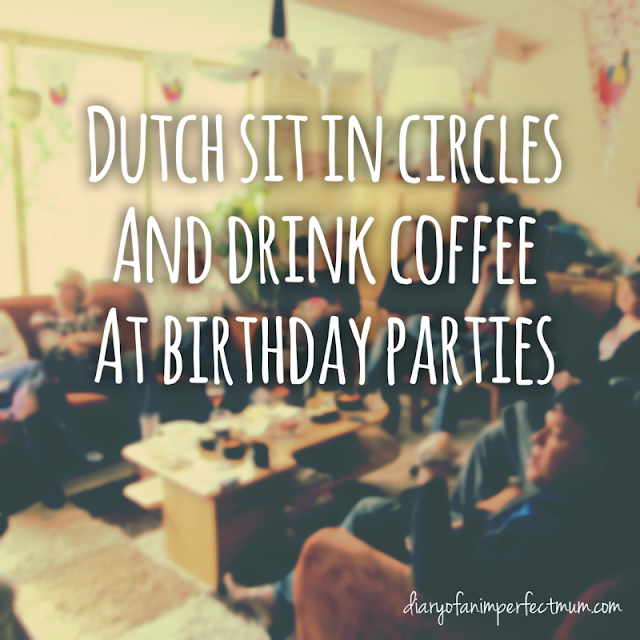 Text: Dutch sit in circle and drink coffee at birthday parties