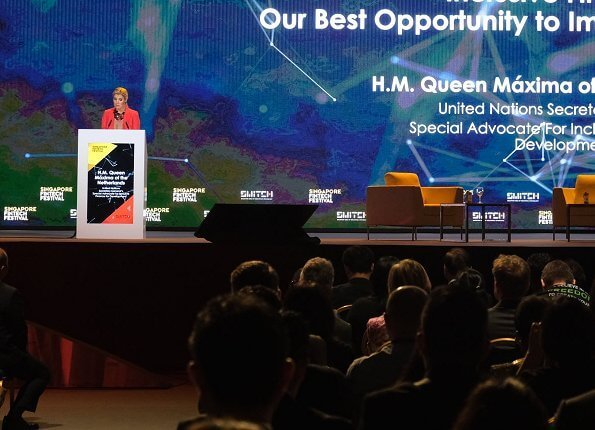 Queen Maxima attended the Singapore FinTech Festival in her capacity as the UN Secretary-General's Special Advocate