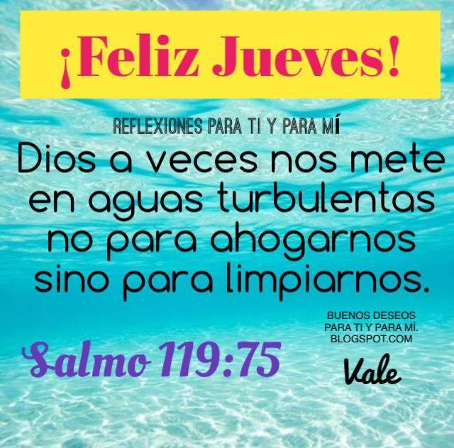 ¡FELIZ JUEVES!  Dios a veces nos mete en aguas turbulentas no para ahogarnos, sino para limpiarnos. Salmo 119:75