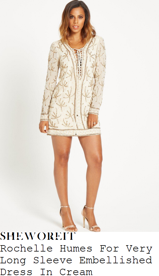 rochelle-humes-rochelle-humes-for-very-cream-and-gold-leaf-pattern-sequin-and-bead-embellished-long-sleeve-lace-up-plunge-front-shift-mini-dress