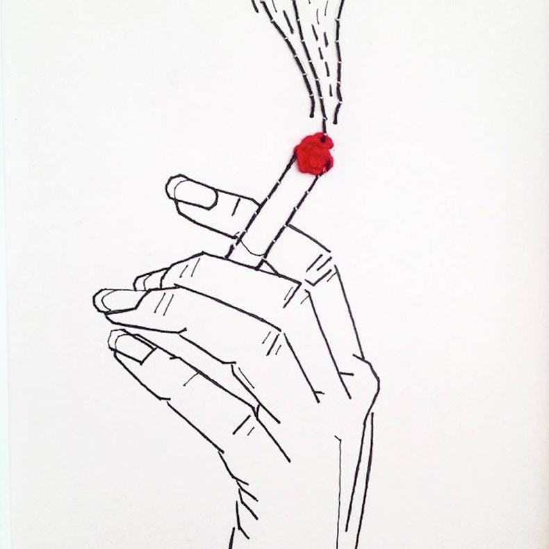 Artísticas ilustraciones bordadas por Clea Lala