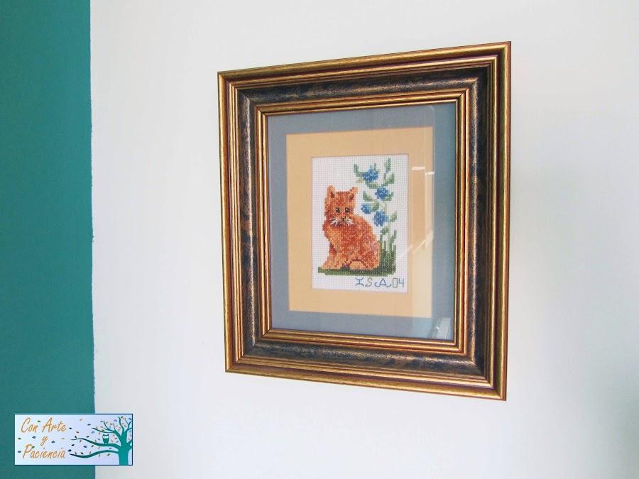 punto-cruz,blanco, turquesa, cuadro, decoración,coser,gato,