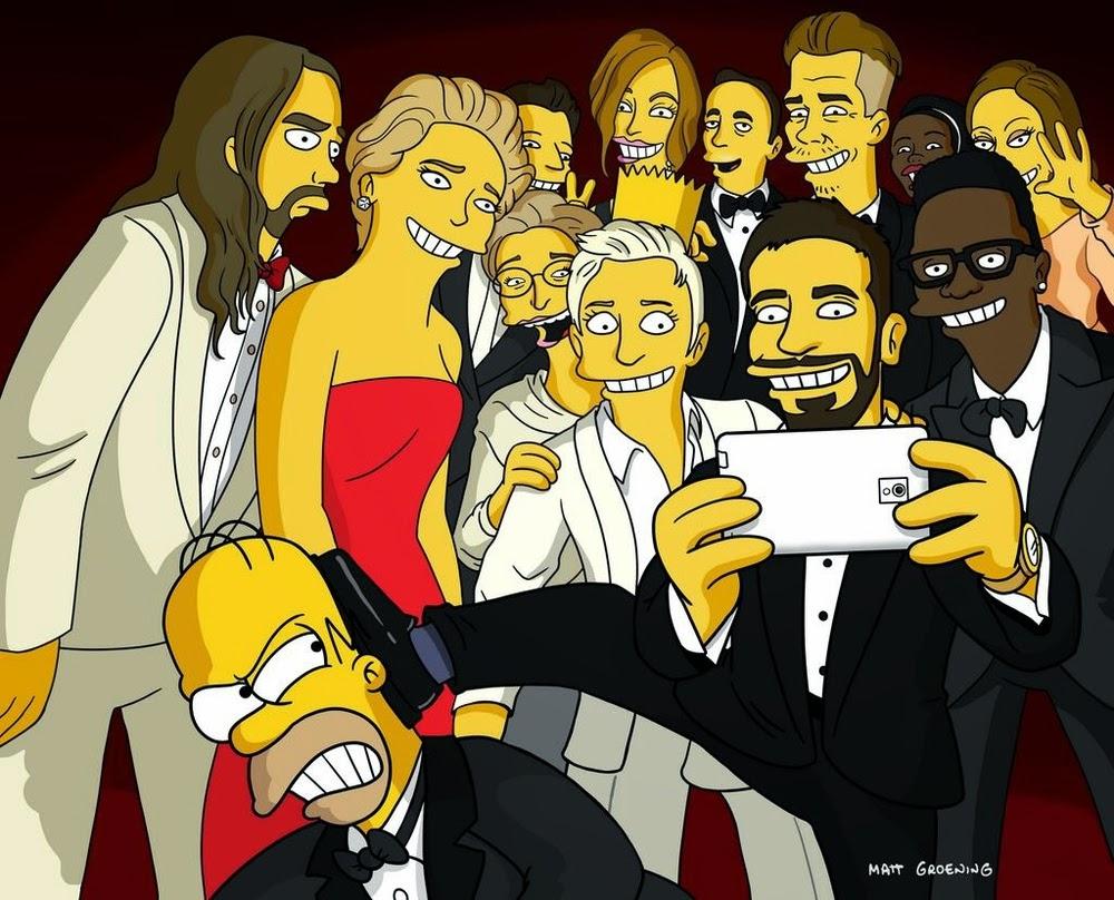Versión Simpson del selfie de la entrega de los oscares.