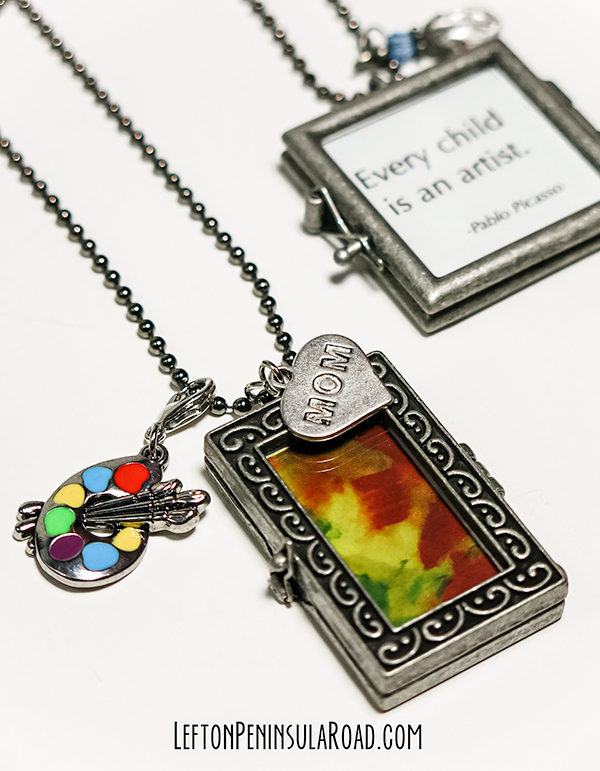 Simple jewelry craft tutorial for using Children's artwork to make cute pendants.