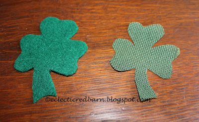 Eclectic Red Barn: Two shamrocks cut: place one on top of the other
