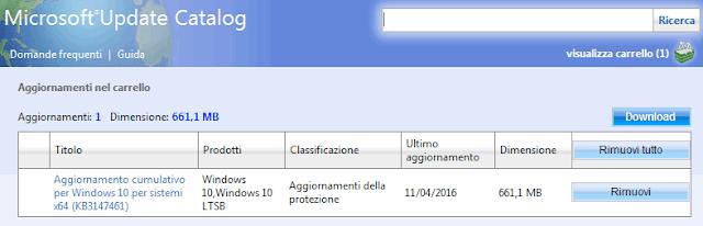 Microsoft Update Catalog scaricare aggiornamento cumulativo Windows 10