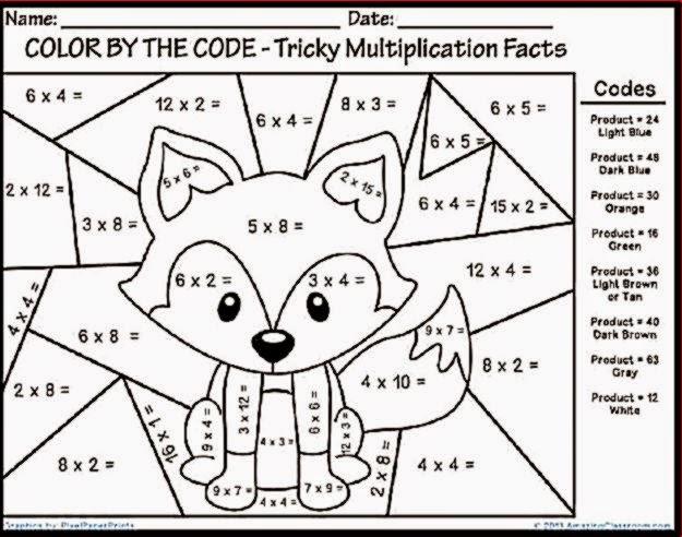 Multiplication Color Sheet | Free Coloring Sheet
