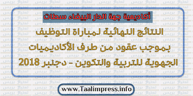 أكاديمية جهة الدار البيضاء سطات: لوائح الناجحين بصفة نهائية في مباراة التوظيف بالتعاقد، دورة دجنبر 2018