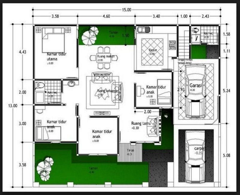 denah rumah 4 kamar 7x15 2