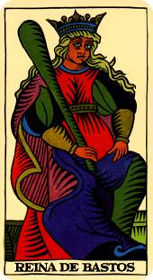 Tarot Marsella: Reina de Bastos