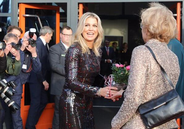 Queen Maxima wore Nina Ricci sequin dress from Fall 2015 collection. Wibi Soerjadi, Suzan and Freek and Gerard Joling at More Music